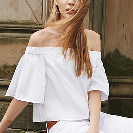 Tibi - Tibi Off Shoulder Short Sleeve Top