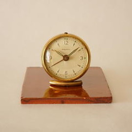 bayard - bayard/small alarm clock/brass & pale yellow/france 1920s/working