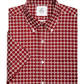 BLACK FLEECE BY Brooks Brothers - MINI-OCTAGON BUTTON-DOWN SHORT-SLEEVED SHIRT Red-White