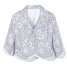 THOM BROWNE - Scallop Hem Long Collar Jacket in Grey and White Baroque Floral