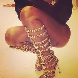 PRIVILEGED - Vunk - Metalic Strappy Chain Gladiator Knee High Stiletto Heel