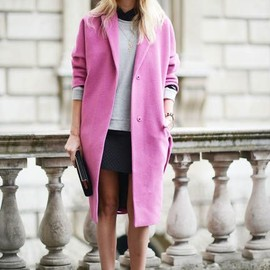 pink coat style♡