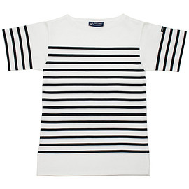 SAINT JAMES - NAVAL SHORT SLEEVE SHIRTS NEIGE/NOIR