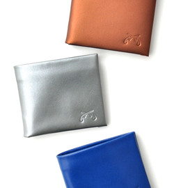 "Black Leather Bi-Fold Wallet, ""Ocean"" Print"