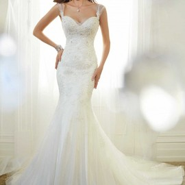 wishesbridal - Elegant Straps Tulle Trumpet Mermaid Wedding Dress With Appliques Ast0048