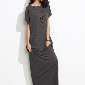 Romwe - Heather Grey Batwing Cocoon Maxi Dress