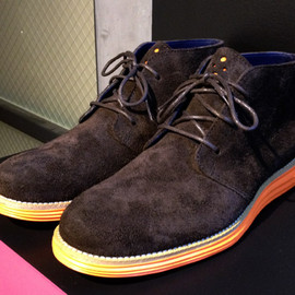 Cole Haan - Lunargrand Chukka - Black Suede Upper w/ Orange Lunar Sole