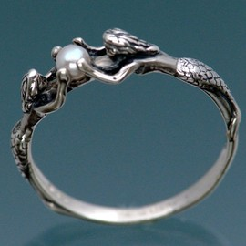 SheppardHillDesigns - Two Mermaids Ring with Pearl