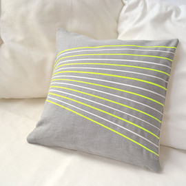 PALEOLOCHIC - Linen pillow cover in silver gray with white and neon yellow stripes -Surfing with fabrics-