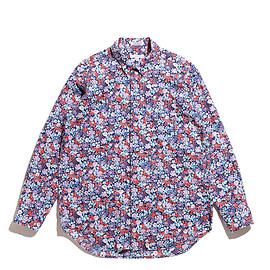 ENGINEERED GARMENTS - Short Collar Shirt-Floral Lawn-Navy×Red×Lt.Blue