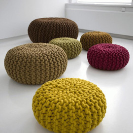 Handknitted Wool Poufs And Rugs By Christien Meindertsma Interiors | Knit One Pearl One