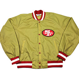 VINTAGE - Vintage 90s Chalk Line San Francisco 49ers Gold Windbreaker Jacket Mens Size Large