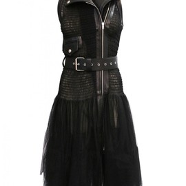 Jean Paul Gaultier - SS2014 SLEEVELESS LEATHER TRIM DRESS BLACK
