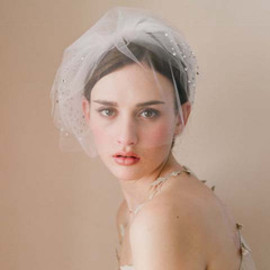 Twigs & Honey - Triple layer rhinestone adorned tulle veil with blusher - Style # 216