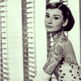 Cheyenne Randall - Audrey Hepburn | Shopped Tattoos inks up pop-cultural icons