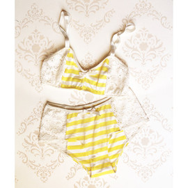 ohhhlulu - Lingerie Set 'Buttercup' Yellow stripes with White Lace Handmade to Order