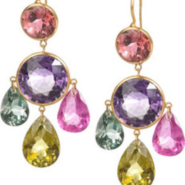 22-karat gold multi-stone chandelier earrings - Marie-Hélène de Taillac