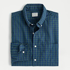 J.CREW - Stretch Secret Wash shirt in pine plaid organic cotton