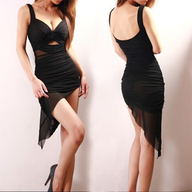 Sexy Backless Low-cut V-neck Irregular Hem Nightclub Dress