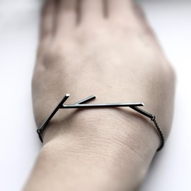 MIRTAjewelry - Sticks 02. oxidized sterling silver twig bracelet