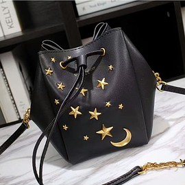 Yves Saint Laurent - Saint Laurent Mini Monogram Star Studded Bucket Bag In Leather Black