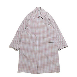 AURALEE - Finx Weather Cloth Check Coat-Ivory Check