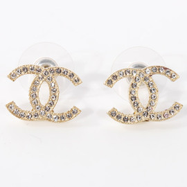 CHANEL - cocomark/Rhinestone pierced earring/champaign gold