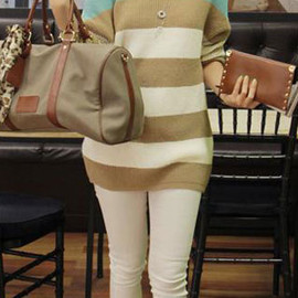 fashion - Image of [grzxy6600628]Leisure Chic Classical Stripe Print Mixing Color Sweater
