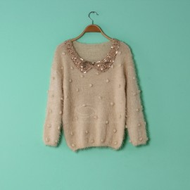 Sequin Embellished Peter Pan Collared  sweater