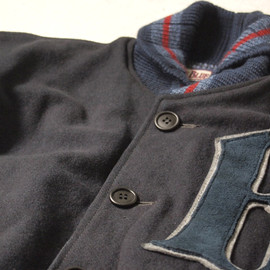 BLUEBLUE - INDIGO LEATHER STADIUM JACKET
