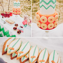 Green Wedding Shoes Wedding - surf board cookies