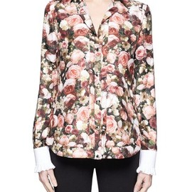 GIVENCHY - Roses print silk collarless shirt