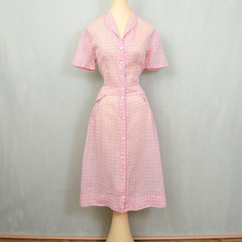 VINTAGE - 1940's Pink Plaid Voile Day Dress