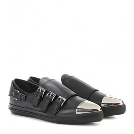 miu miu - Metal-tipped leather loafers