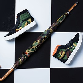 VANS VAULT, London Undercover - Sk8 Hi MTE Cup LX w/ Umbrella- Black/Camo/Orange