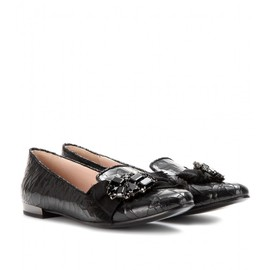 miu miu - EMBELLISHED CRACKED-LEATHER LOAFERS