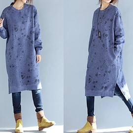 loose fitting dress - Winter loose cotton Asymmetry dress large size Winter Bottoming dress