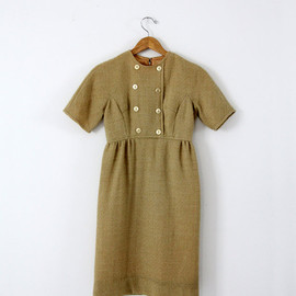 vintage gold wool dress / 60s wiggle dress