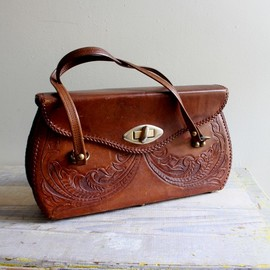Large Tooled Leather Satchel