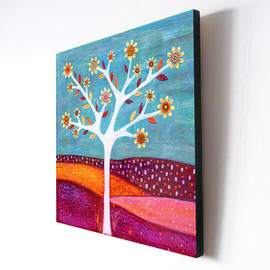 Luulla - Large Wood Block Print of my Abstract Tree Painting - Amber