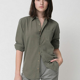 American Apparel - Long Sleeve Button-Up with Pocket