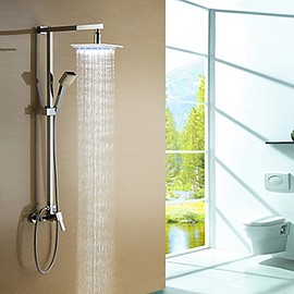 Faucetsmall - Color Changing LED Shower Faucet with 8 inch Shower Head & Hand Shower - Faucetsmall.com