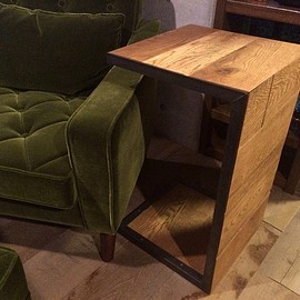 SQUARE - 無垢オーク コの字型 sofa side table sst-001