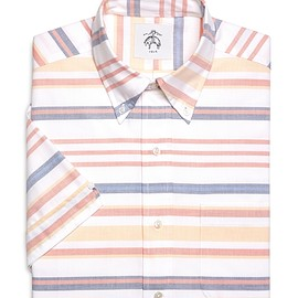 BLACK FLEECE BY Brooks Brothers - STRIPE OXFORD SHORT-SLEEVE SHIRT Multi