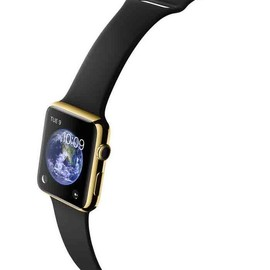 Apple - WATCH  42mm 18-Karat Yellow Gold Case With Black Sport Band