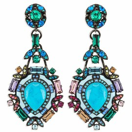 Lanvin - Lanvin Multicolor Crystal Clip Earrings