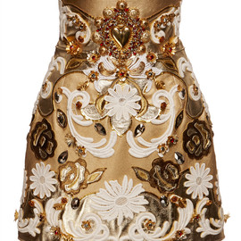 DOLCE&GABBANA - SS2015 Embroidered Metallic Leather High Waist Skirt