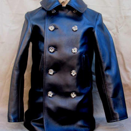 LOST WORLDS - Pea Coat Horsehide Leather Black