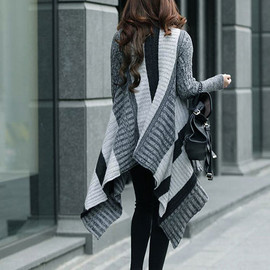 Gorgeous Fashion Oversize Stripe Mixing Color Knit Irregular Cardigan