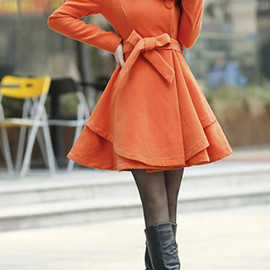 fashion - Image of [grzxy6600538]European Style Lapel Pure Color Bowknot Worsted Coat